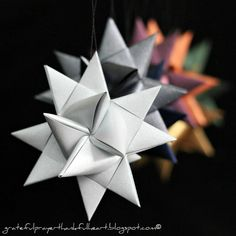 German Paper Stars... Made these as a Camp Fire Girl for a Christmas Tree so many years ago.  They were really easy to make and we made hundreds of them!
