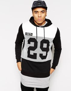 ASOS+Hoodie+With+Mesh+Print+And+Quilted+Panel