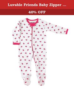 Luvable Friends Baby Zipper Sleep and Play, Lady Bugs, 0-3 Months. Our Luvable Friends layette collection of unique baby clothing and baby care products features 100 percent cotton fabrics for super soft touch on your baby's gentle skin. Our zippered sleep n play are the one-piece solution to make day and night easier on mom. Full front zipper make for no fuss dressing and easy diaper changes. Available in 2 color themes and fits up to 9 months.