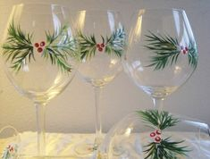 Items similar to Handpainted Christmas wine glasses , set of 2 with berries and pine. on Etsy Christmas Wine Glasses, Diy Wine Glasses, Decorated Wine Glasses, Hand Painted Wine Glasses, Wine Glass Crafts, Wine Bottle Crafts, Wine Bottles, Christmas Crafts To Sell, Diy Christmas