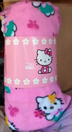 "Nos New Nwt #HelloKitty Pink Fleece Blanket Throw 50""x60"" from $21.99"
