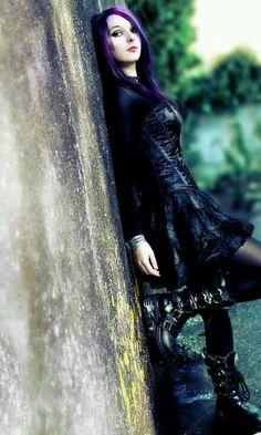 Goth Outfit w/ Dark Purple Hair