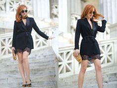 H&M Tuxedo Blazer, Zara Skirt, Chanel Heels, Chanel Clutch