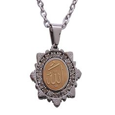 Small Engraved Gold Pt Crystal Allah Charm Chain Necklace Islamic Muslim Gift 18 Gold Chain * More info could be found at the image url.