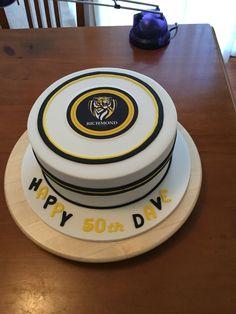 Richmond Football Cake 50th Birthday.  Chocolate mud cake with caramel Italian meringue buttercream.