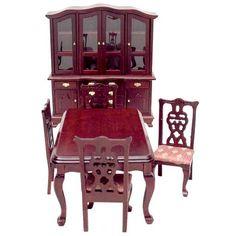 Dollhouse miniature Art Nouveau dining table with 4 chairs Puppenstuben & -häuser 1/12 scale