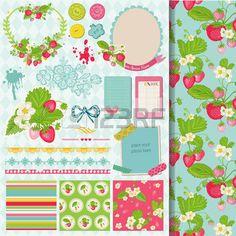 スクラップ ブック デザイン要素 - イチゴぼろぼろのシックな主題 - ベクトル