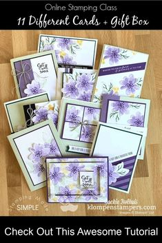 I can't wait to show you these 11 unique cards and a gift box you can make. If you need DIY gift ideas for Christmas, Birthday, Teachers, or Friends this tutorial is for you! Learn more at www.klompenstampers.com #cardmaking #greetingcards #handmadecards #cardmakingclass #cardmakingtutorials #jackiebolhuis #klompenstampers #stampinupcards #gorgeousposiesstampinup