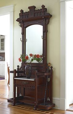 Antique Walnut Mirror Hall Stand Hat Coat Rack 1 Drawer