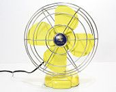 Refurbished Retro Vintage Yellow Coronado Electric Fan