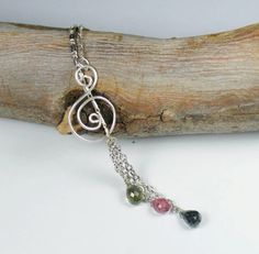 Tourmaline Sterling Silver Lariat Necklace by LunaCelesteAustralia