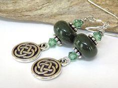 Silver Earrings Green Earrings Celtic Knot by BlondePeachJewelry