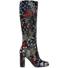 VALENTINO 90mm Spring Garden Brocade Boots ($1,185) ❤ liked on Polyvore featuring shoes, boots, sapatos, multi, flower pattern shoes, high heel boots, valentino boots, side zipper boots and floral pattern shoes