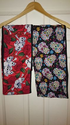 Hand-made Infinity scarfs by Mesmerise-Ink.  60cm long, skull fabric outer with fleecy lining.  £8 each. #sugarskull #skull #handmade #scarf #gothic #rose #Mesmerise-Ink