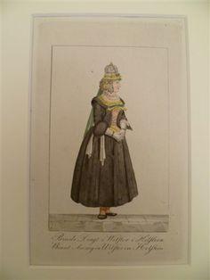 Brude Dragt i Wilster i Holsteen. Braut Anzug in Wilster in Holstein. Altkolor. Kupferstich in Punktmanier von J. Rieter, um 1806. #NordFriesland