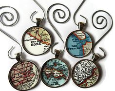 CUSTOM map ornament charms, map ornaments for the holiday personalized with a favorite location, custom ornaments, Christmas ornament gift