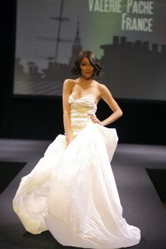 """Valerie Pache dress made from a whole parachute. Dress inspired by the Zen theme illustrating """"the Air and Wind"""""""