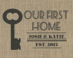 This sweet Our First Home Burlap Wall Hanging by Cate Crafts will be the perfect addition to your home or the home of someone you love. New home