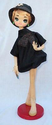 "Vintage 20"" Circa 1960's Mod Big Eye Bradley Type Cloth Fashion Doll Hang Tag   eBay"