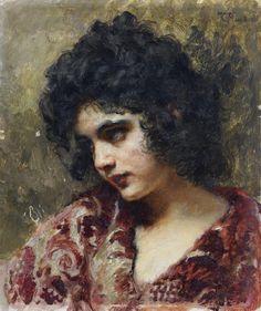 'Gypsy girl' - attributed to Konstantin Makovsky (1839-1915)