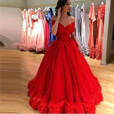 Red Modest Off-the-Shoulder Flowers Ruching Ball Gown Quinceañera Tulle/Sweet 16/Formal/Prom Dresses 2017