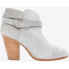 rag & bone Harrow Suede Booties: Grey ($525) ❤ liked on Polyvore featuring shoes, boots, ankle booties, studded booties, suede booties, high heel boots, grey ankle booties and grey suede boots