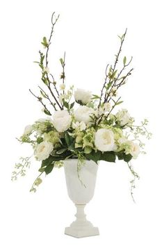 Natural+Decorations,+Inc.+-+Peony+Hydrangea+White+Green+|++Urn+Pottery+White