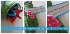 Oven Mitt DIY idea {Teacher Appreciation} lots of fun diy gift bridal shower/ party/ teacher Homemade Gifts, Diy Gifts, Cute Teacher Gifts, Teacher Appreciation Week, Gadget Gifts, Creative Gifts, Creative Ideas, Sewing Projects, Gift Ideas