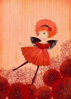 Children's Art Print - Poppy Garden Fairy Art Print - Nursery art prints, baby nursery, nursery decor, nursery wall art, kids art. $10.00, via Etsy.