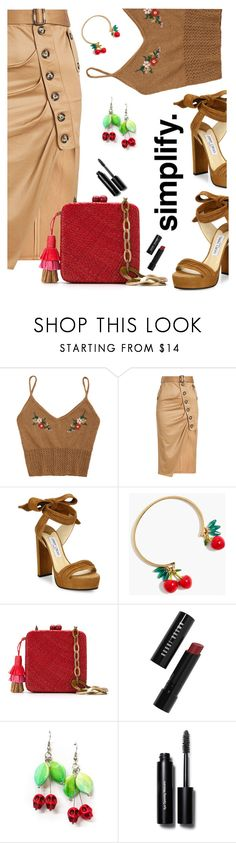 """""""Bottoms Up:  Happy Hour"""" by juliehooper ❤ liked on Polyvore featuring self-portrait, Jimmy Choo, J.Crew, Serpui and Bobbi Brown Cosmetics"""