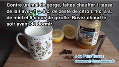 une tasse de lait avec des clous de girofle, du miel, du citron pour soigner un mal de groge Aloe Vera, Mugs, Tableware, Health, Corridor, Housewife, Sport, Lemon, Drink