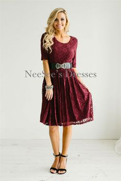 This stunning Burgundy lace dress is fully lined, features half sleeves, a round neckline and has a gathered skirt. The romantic dress will not disappoint and is forever timeless!