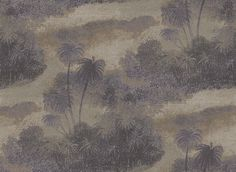 Cocos Lavender/Gilver (W6652-06) - Osborne & Little Wallpapers - An atmospheric design featuring the silhouettes of swaying island palms. Shown in the dark lavender purpler and metallic gilver. Please request sample for true colour match.