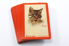 """Vintage cat playing cards deck - """"Chessie System"""" Chesapeake and Ohio Railway - Peake the tabby cat, full deck!"""