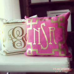 Affordable and oh-so-chic, monogrammed throw pillow covers! {metallic gold or silver with tons of different font, frames and monogramming options} #Monograms