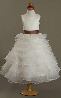 Ball Gown Scoop Tea-length Satin Organza Flower Girl Dress