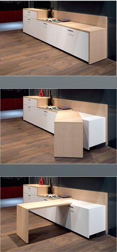 table pivotante plan de travail de cuisine qui pivote pour devenir une table