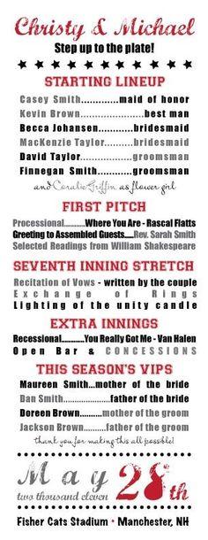 baseball wedding starting lineup program such a cute idea for a baseball themed wedding!