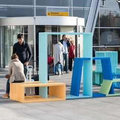 The interlocking modules of this street furniture by designer Izabela Bołoz form flexible seating for members of the public to sit, recline or climb on.