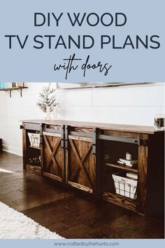 Learn how to make this modern farmhouse TV console with these DIY plans. Adding doors to your TV console adds hidden storage for your living room! #anawhite #diyfurniture #tvconsole #tvstand #entertainmentstand Diy Furniture Tutorials, Diy Furniture Plans, Furniture Storage, Barbie Furniture, Outdoor Furniture, Rustic Living Room Furniture, Farmhouse Furniture, Farmhouse Tv Stand, Modern Farmhouse