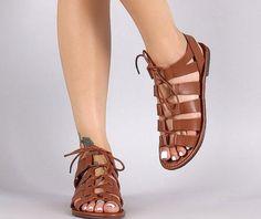 AMSTERDAM Leather Sandals Gladiator Sandals by MandalaLeathers