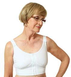 The Compression Bra by Wear Ease ® is designed for gentle compression all around the torso for women with post-surgical discomfort or chest or breast lymphedema. The Compression Bra by Wear Ease® is ideal for after breast surgery including breast Fashion Forms, Bra Styles, Breast Cancer Awareness, How To Wear, Occupational Therapy, Physical Therapy, White Fashion, Surgery, Women