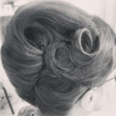 French pleat with curls French Twist Updo, French Twists, Vintage Hairstyles, Wedding Hairstyles, French Pleat, Vintage Wedding Hair, Curls, Hair Makeup, Make Up