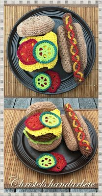 Crochet food, sausage with bread and hamburger with bread and sallad