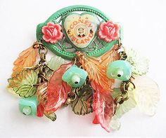 Coney Island NY Enamel Tillie Face Leaves & Flowers by hollee Mixed Media Jewelry, Leaf Flowers, Coney Island, Brooch Pin, Jewelry Bracelets, Enamel, Leaves, Crystals, Trending Outfits