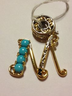 Sleeping Beauty Turquoise Pendant Michael Valitutti Sapphire M Charm Blue Sterling Silver 14K Gold New Vintage Jewelry Birthday Xmas Gift on Etsy, $95.00