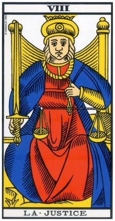 La justice - Tarot of Marseille Alicia Galvan, Free Psychic Reading Online, Justice Tarot, Funny Vintage Ads, Le Tarot, Daily Tarot, Zodiac Art, Major Arcana, Astrology