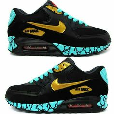 After seeing the Bacon Air Jordan V's Sekure D hits us with another masterpiece with these Nike Air Max's. Custom Teal Night Air Max by Sekure D. Nike Air Max 90s, Nike Air Force 1, Nike Max, Casual Sneakers, Sneakers Fashion, Fashion Shoes, Fashion Outfits, Nike Free Run, Nike Air Shoes