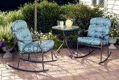 3 Pc Bistro Set Outdoor Garden Patio Furniture Dining Top Table Rocking Chairs