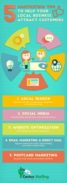 Attract customers for your local business using the following tips on this infographic. http://www.cactusmailing.com/blog/5-marketing-tips-help-local-business-attract-new-business